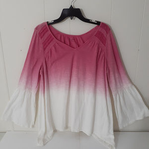 New Directions Pink Flared Sleeve & Bottom Tunic